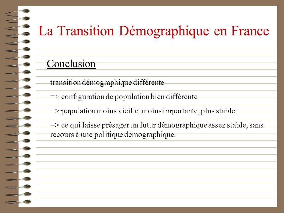 La Transition Démographique en France Conclusion transition démographique différente => configuration de population bien différente => population moin