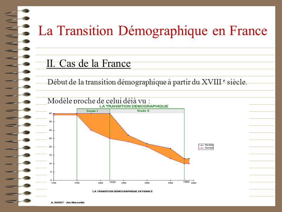 La Transition Démographique en France II. Cas de la France Début de la transition démographique à partir du XVIII e siècle. Modèle proche de celui déj