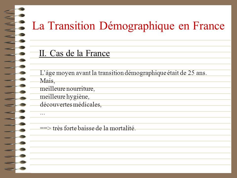 La Transition Démographique en France II. Cas de la France Lâge moyen avant la transition démographique était de 25 ans. Mais, meilleure nourriture, m