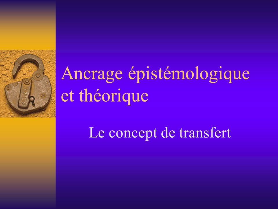 Ancrage épistémologique et théorique Le concept de transfert