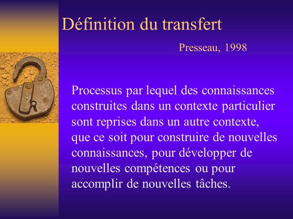 Définition du transfert Presseau, 1998 Processus par lequel des connaissances construites dans un contexte particulier sont reprises dans un autre con