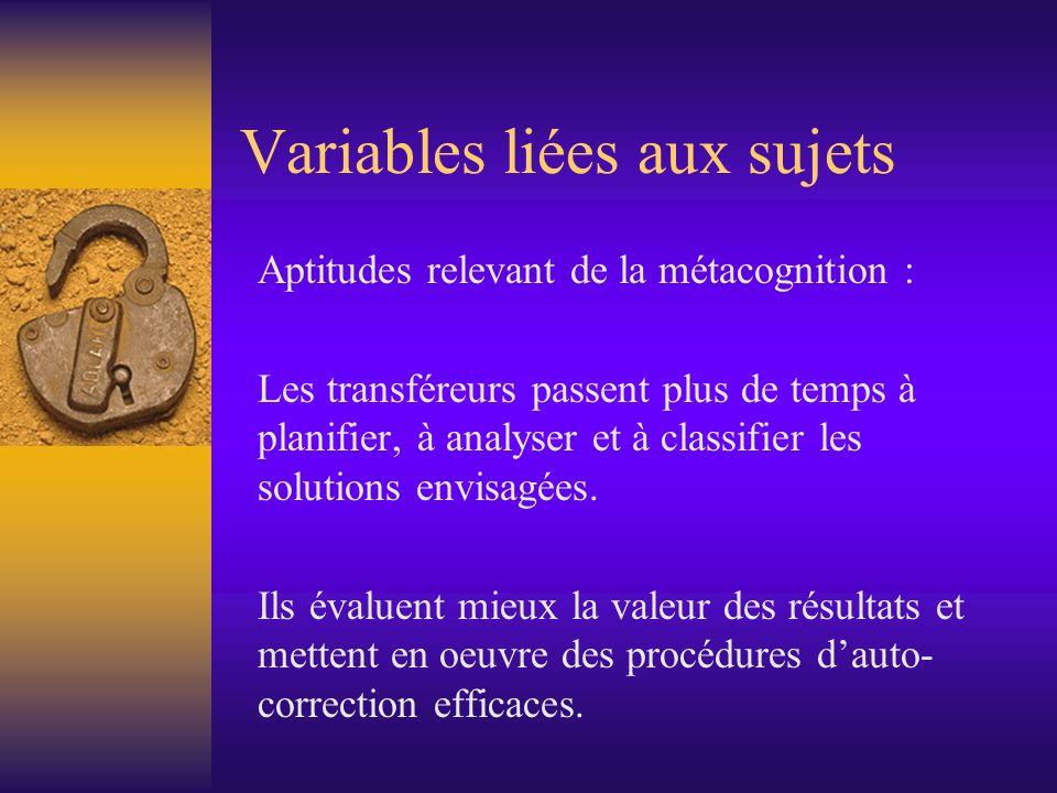 Variables liées aux sujets Aptitudes relevant de la métacognition : Les transféreurs passent plus de temps à planifier, à analyser et à classifier les