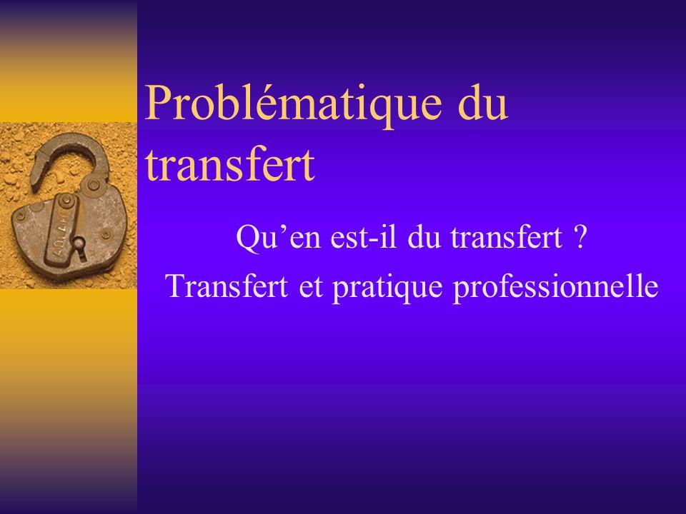 Problématique du transfert Quen est-il du transfert ? Transfert et pratique professionnelle