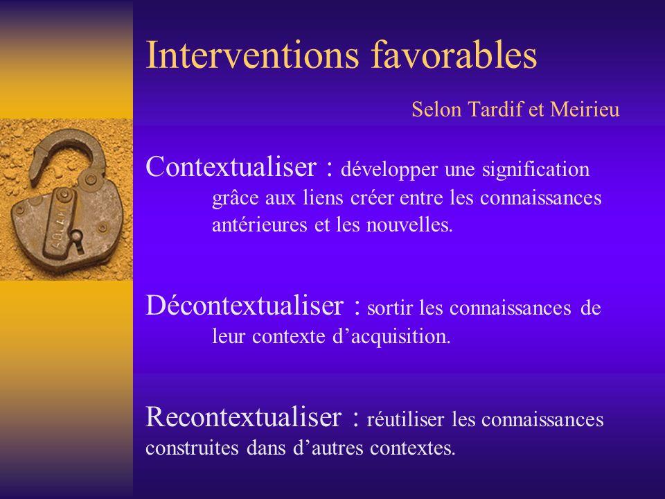 Interventions favorables Selon Tardif et Meirieu Contextualiser : développer une signification grâce aux liens créer entre les connaissances antérieur