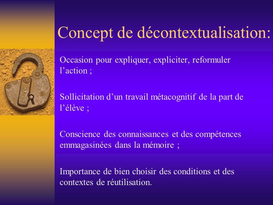 Concept de décontextualisation: Occasion pour expliquer, expliciter, reformuler laction ; Sollicitation dun travail métacognitif de la part de lélève