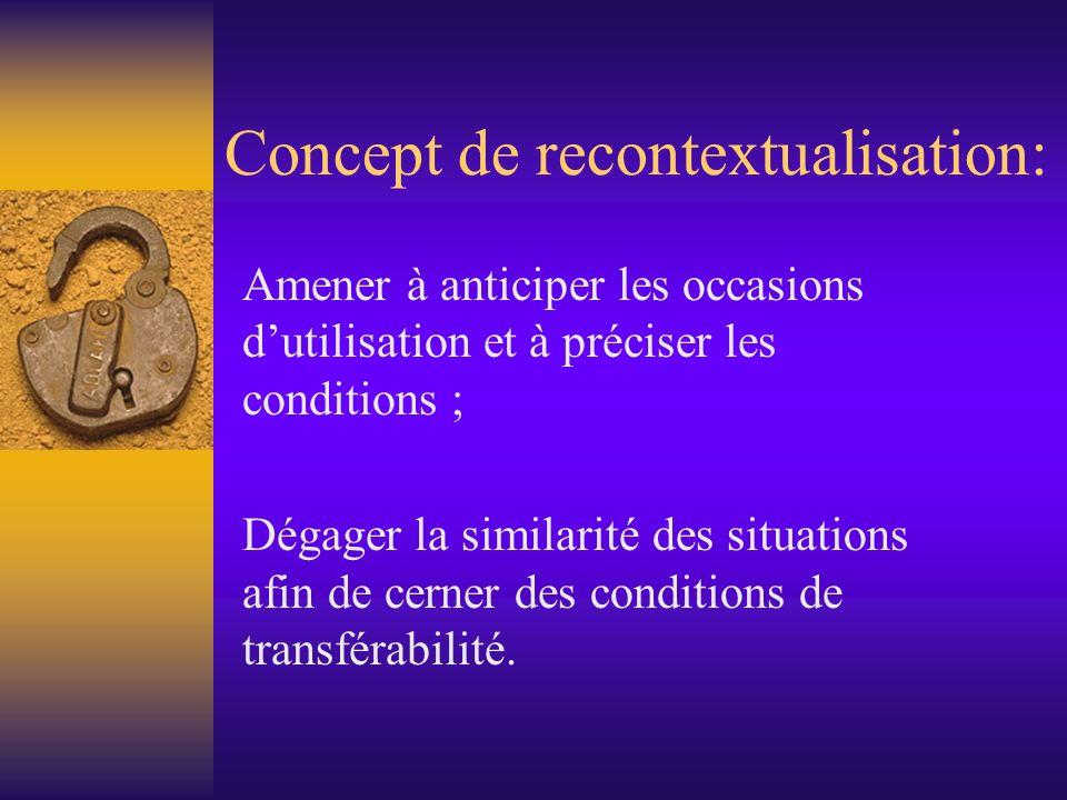 Concept de recontextualisation: Amener à anticiper les occasions dutilisation et à préciser les conditions ; Dégager la similarité des situations afin