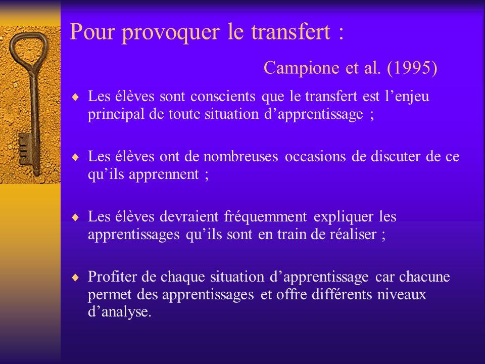 Pour provoquer le transfert : Campione et al. (1995) Les élèves sont conscients que le transfert est lenjeu principal de toute situation dapprentissag