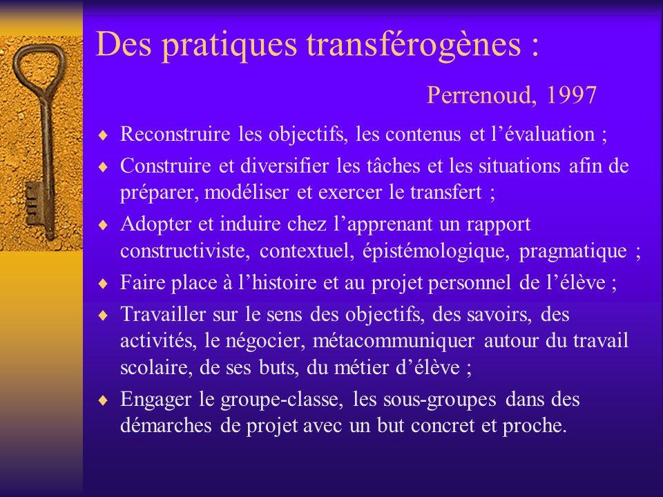 Des pratiques transférogènes : Perrenoud, 1997 Reconstruire les objectifs, les contenus et lévaluation ; Construire et diversifier les tâches et les s