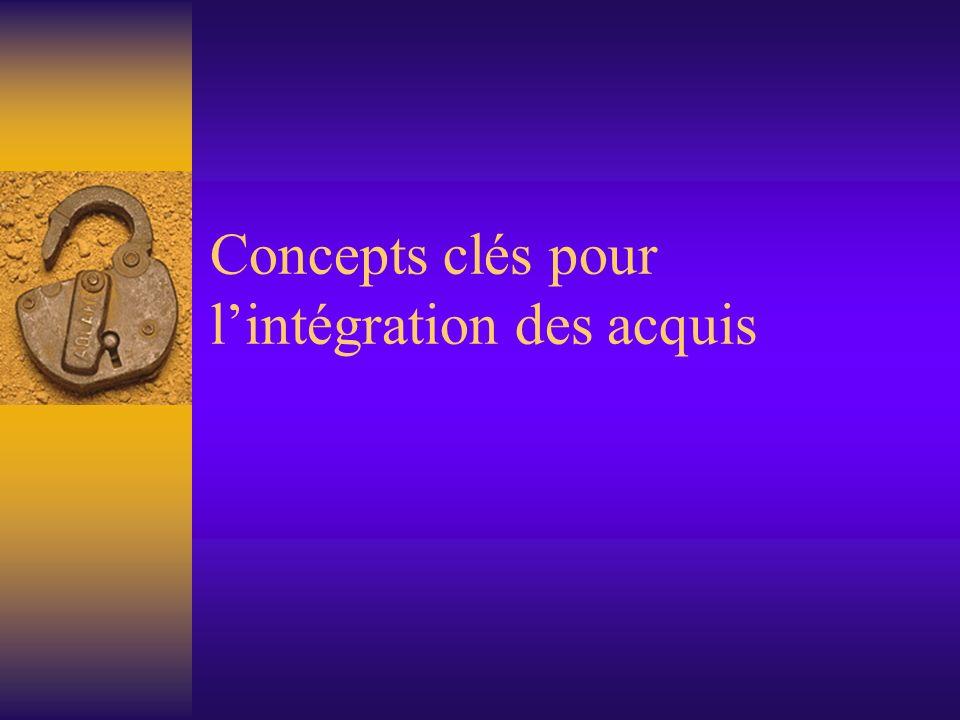 Concepts clés pour lintégration des acquis