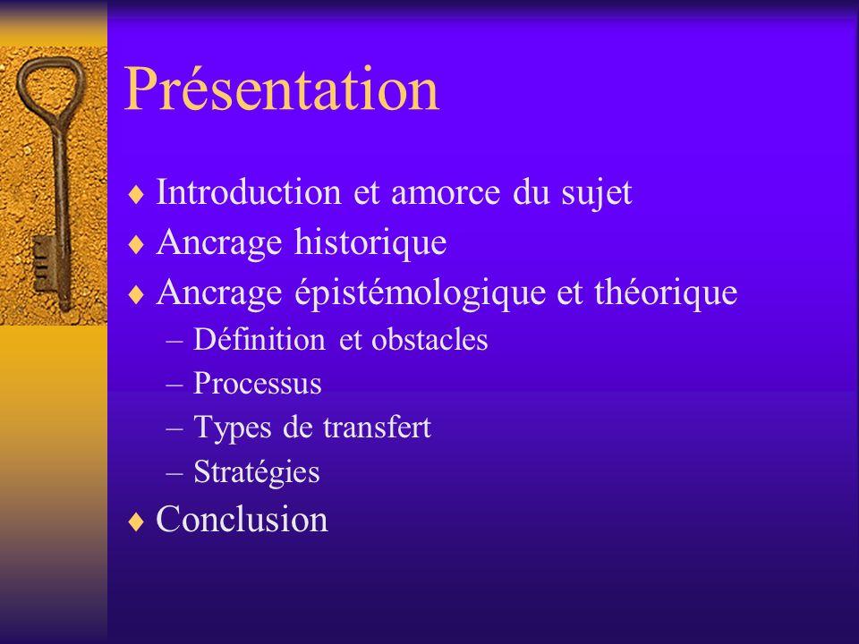 Présentation Introduction et amorce du sujet Ancrage historique Ancrage épistémologique et théorique –Définition et obstacles –Processus –Types de tra
