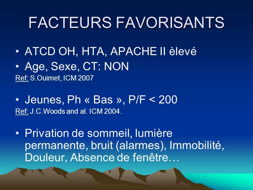 FACTEURS FAVORISANTS ATCD OH, HTA, APACHE II èlevé Age, Sexe, CT: NON Ref: S.Ouimet, ICM 2007 Jeunes, Ph « Bas », P/F < 200 Ref: J.C.Woods and al. ICM