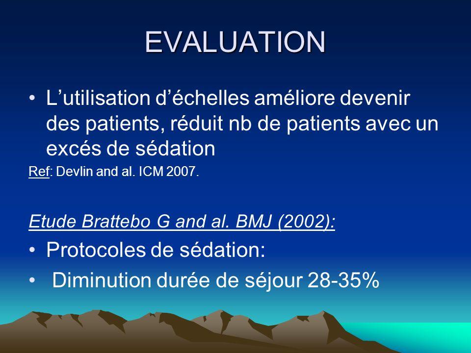 EVALUATION Lutilisation déchelles améliore devenir des patients, réduit nb de patients avec un excés de sédation Ref: Devlin and al. ICM 2007. Etude B