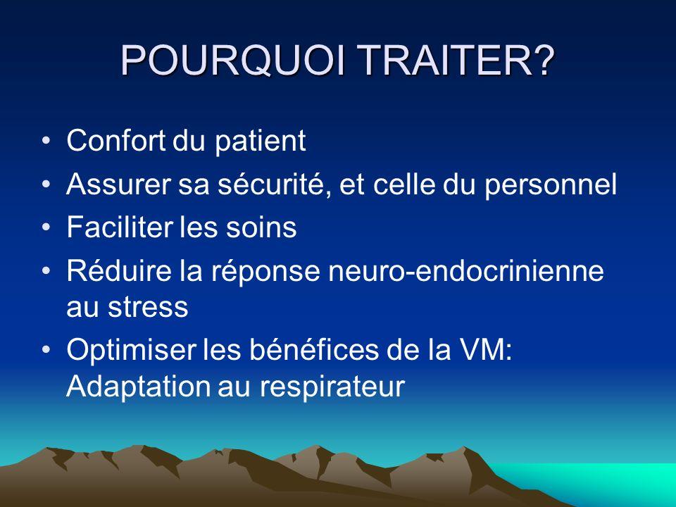 POURQUOI TRAITER? Confort du patient Assurer sa sécurité, et celle du personnel Faciliter les soins Réduire la réponse neuro-endocrinienne au stress O