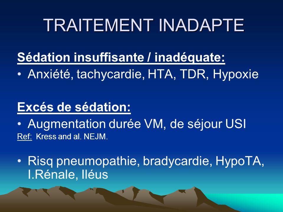 TRAITEMENT INADAPTE TRAITEMENT INADAPTE Sédation insuffisante / inadéquate: Anxiété, tachycardie, HTA, TDR, Hypoxie Excés de sédation: Augmentation du