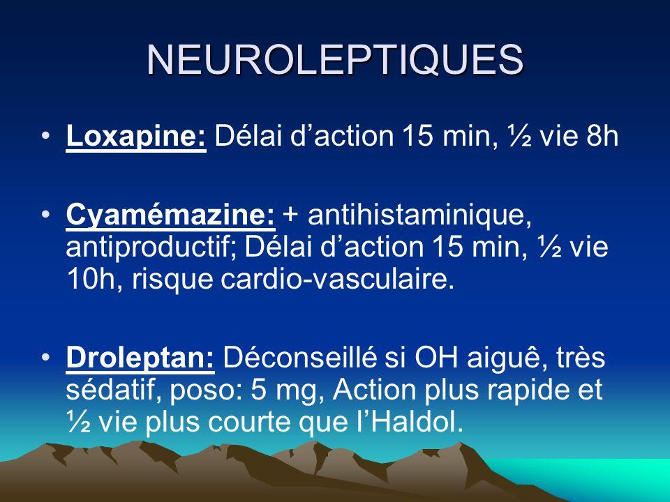 NEUROLEPTIQUES Loxapine: Délai daction 15 min, ½ vie 8h Cyamémazine: + antihistaminique, antiproductif; Délai daction 15 min, ½ vie 10h, risque cardio