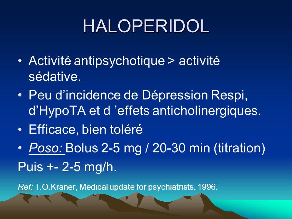 HALOPERIDOL Activité antipsychotique > activité sédative. Peu dincidence de Dépression Respi, dHypoTA et d effets anticholinergiques. Efficace, bien t