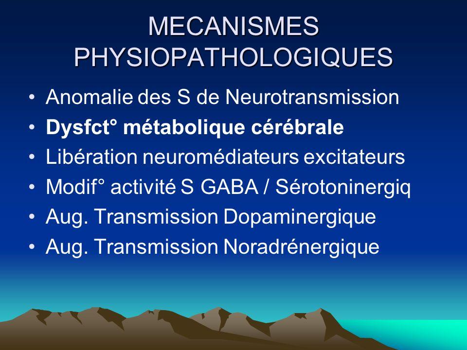 MECANISMES PHYSIOPATHOLOGIQUES Anomalie des S de Neurotransmission Dysfct° métabolique cérébrale Libération neuromédiateurs excitateurs Modif° activit