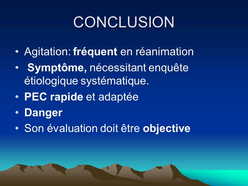 CONCLUSION Agitation: fréquent en réanimation Symptôme, nécessitant enquête étiologique systématique. PEC rapide et adaptée Danger Son évaluation doit