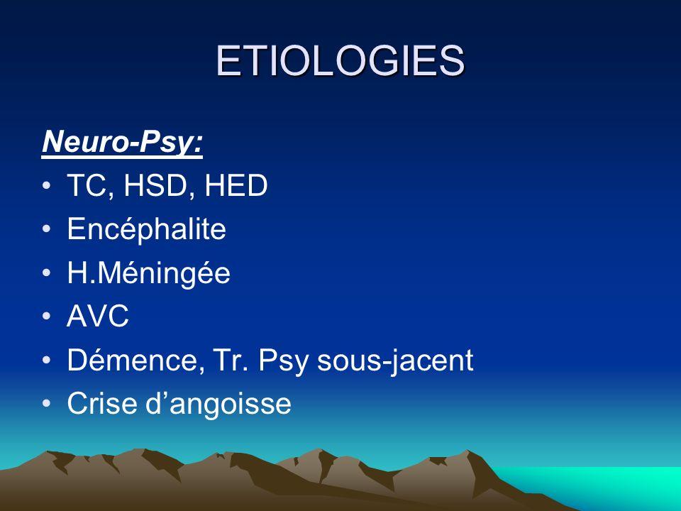 ETIOLOGIES Neuro-Psy: TC, HSD, HED Encéphalite H.Méningée AVC Démence, Tr. Psy sous-jacent Crise dangoisse
