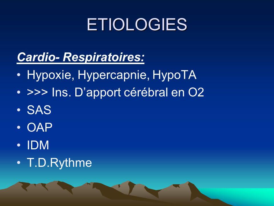 ETIOLOGIES Cardio- Respiratoires: Hypoxie, Hypercapnie, HypoTA >>> Ins. Dapport cérébral en O2 SAS OAP IDM T.D.Rythme
