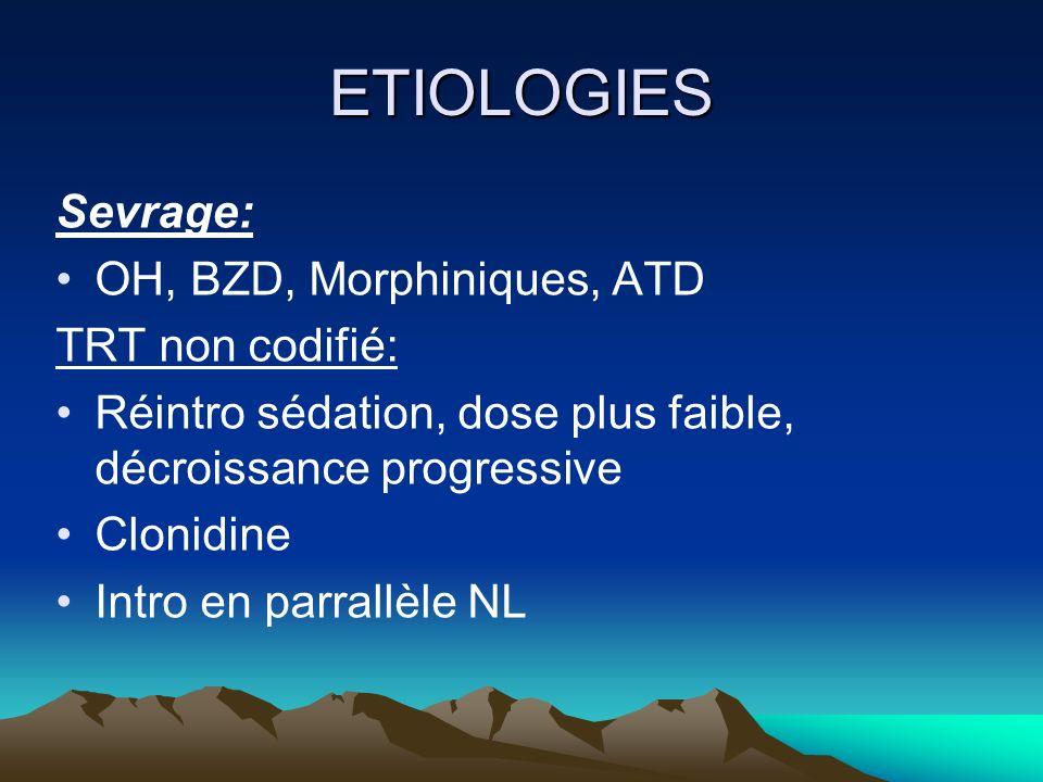 ETIOLOGIES Sevrage: OH, BZD, Morphiniques, ATD TRT non codifié: Réintro sédation, dose plus faible, décroissance progressive Clonidine Intro en parral