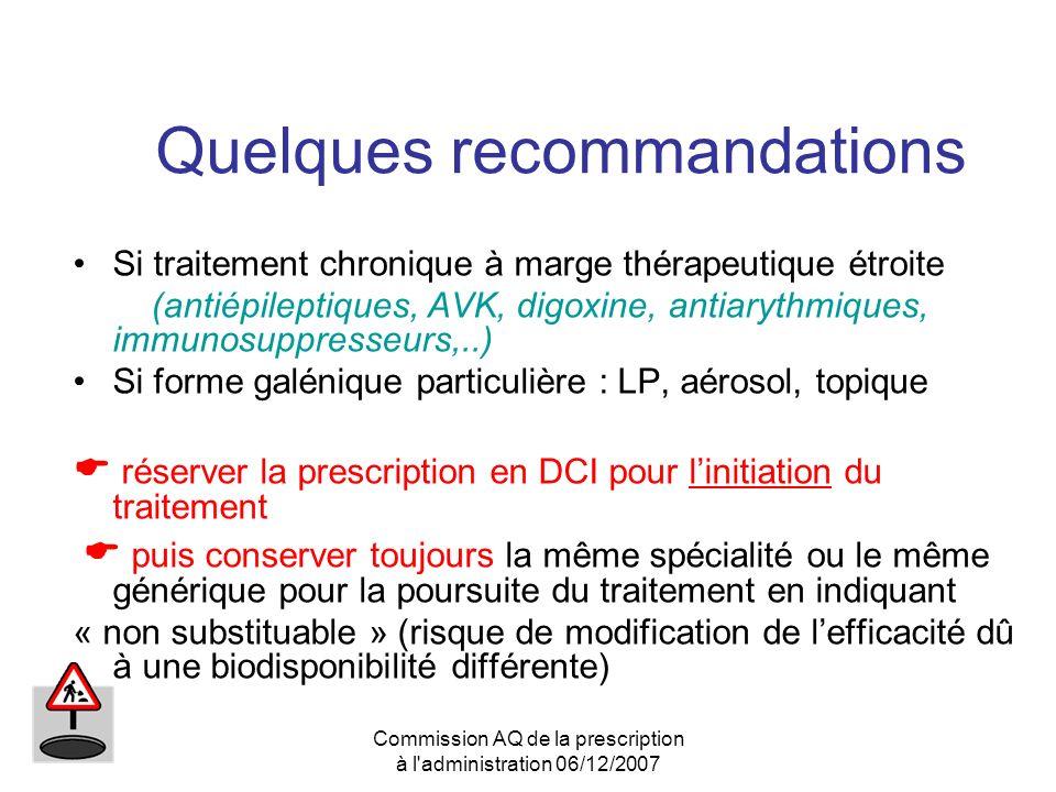 Commission AQ de la prescription à l'administration 06/12/2007 Quelques recommandations Si traitement chronique à marge thérapeutique étroite (antiépi