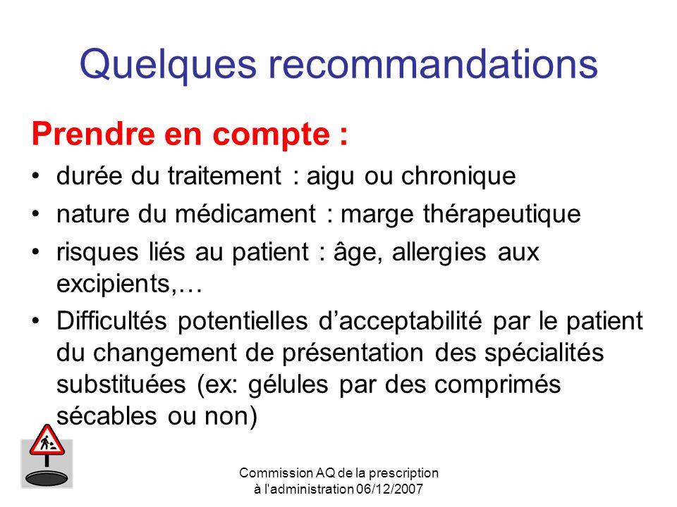 Commission AQ de la prescription à l'administration 06/12/2007 Quelques recommandations Prendre en compte : durée du traitement : aigu ou chronique na