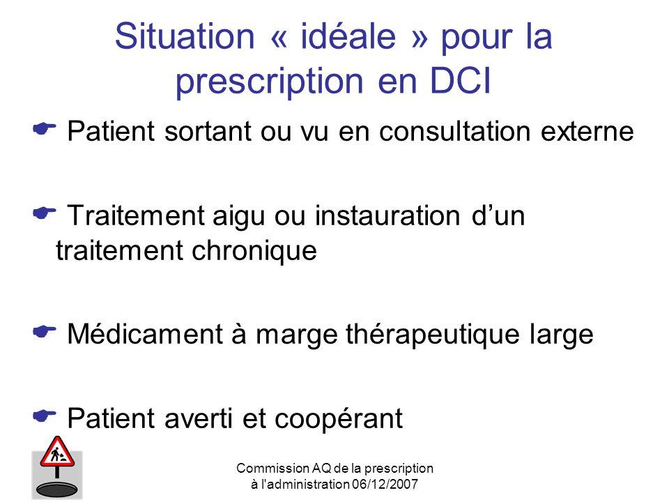 Commission AQ de la prescription à l'administration 06/12/2007 Situation « idéale » pour la prescription en DCI Patient sortant ou vu en consultation