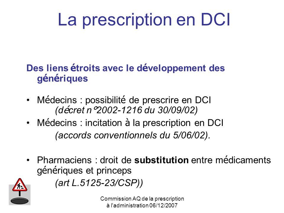 Commission AQ de la prescription à l'administration 06/12/2007 La prescription en DCI Des liens é troits avec le d é veloppement des g é n é riques M