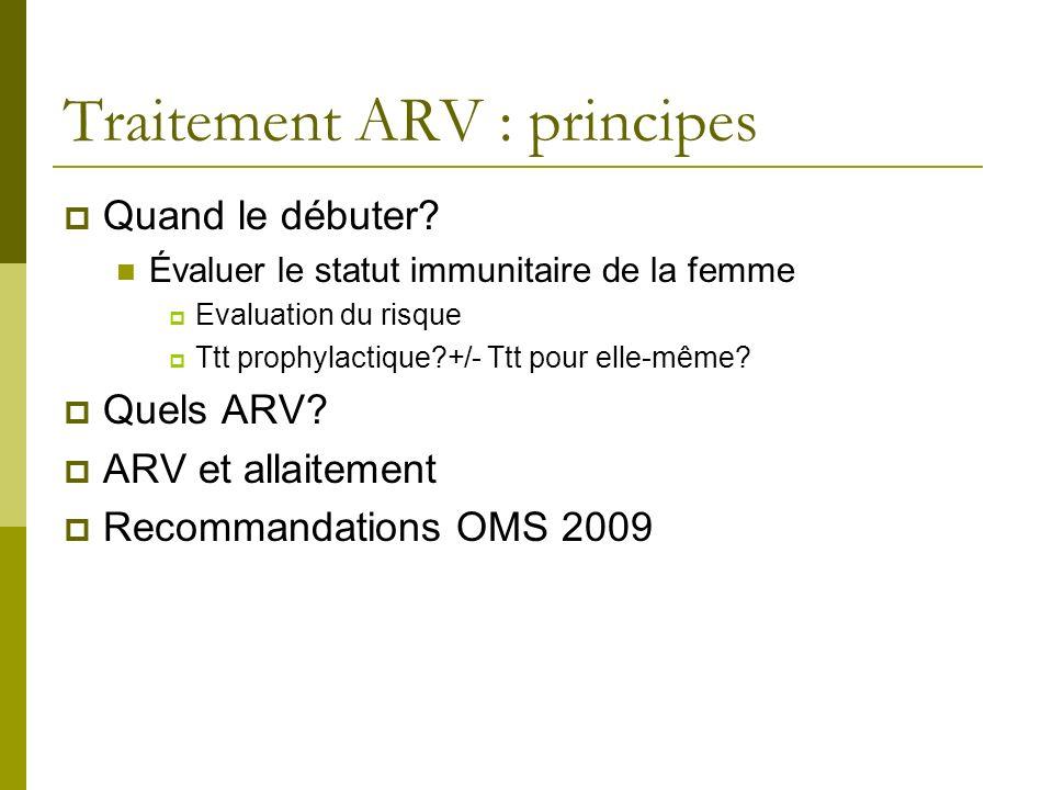 Traitement ARV : principes Quand le débuter? Évaluer le statut immunitaire de la femme Evaluation du risque Ttt prophylactique?+/- Ttt pour elle-même?