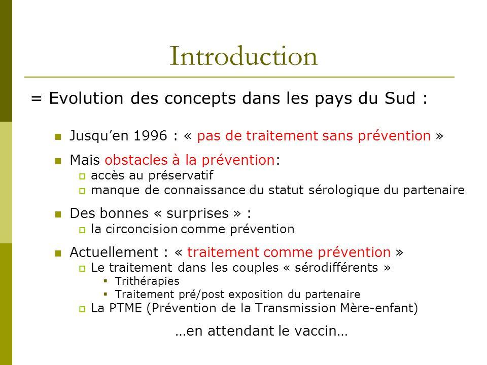 Introduction = Evolution des concepts dans les pays du Sud : Jusquen 1996 : « pas de traitement sans prévention » Mais obstacles à la prévention: accè