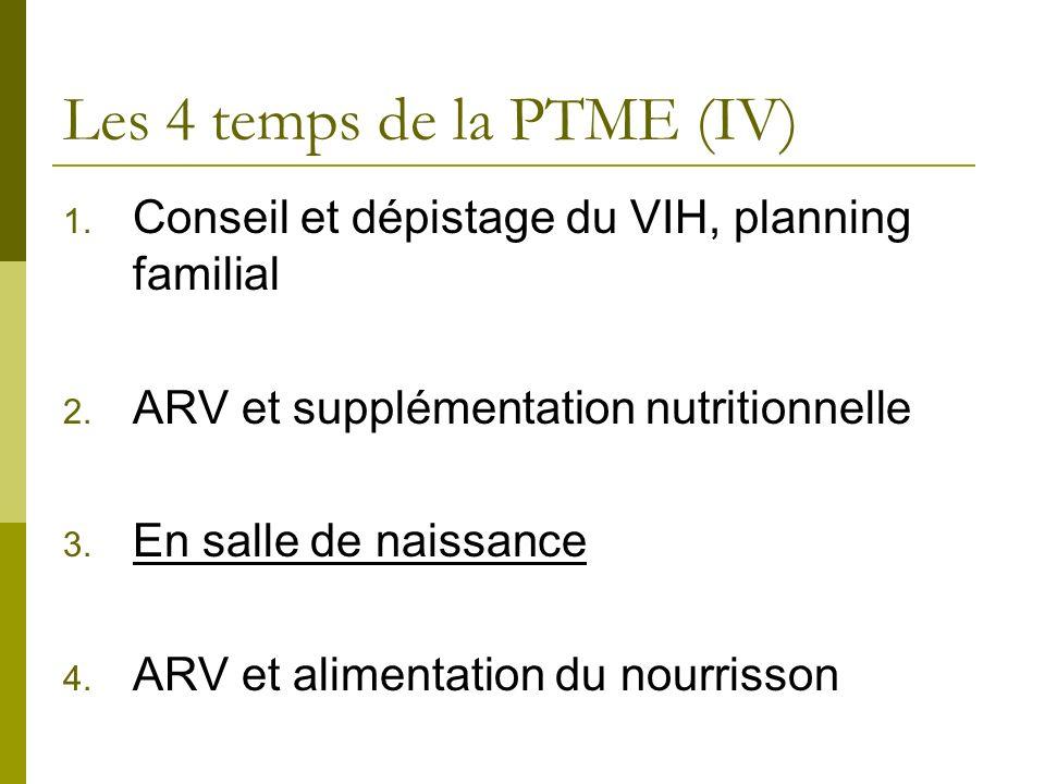 Les 4 temps de la PTME (IV) 1. Conseil et dépistage du VIH, planning familial 2. ARV et supplémentation nutritionnelle 3. En salle de naissance 4. ARV