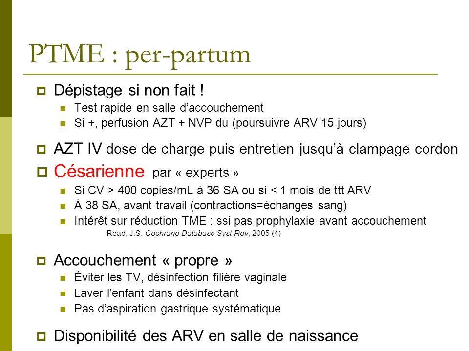PTME : per-partum Dépistage si non fait ! Test rapide en salle daccouchement Si +, perfusion AZT + NVP du (poursuivre ARV 15 jours) AZT IV dose de cha