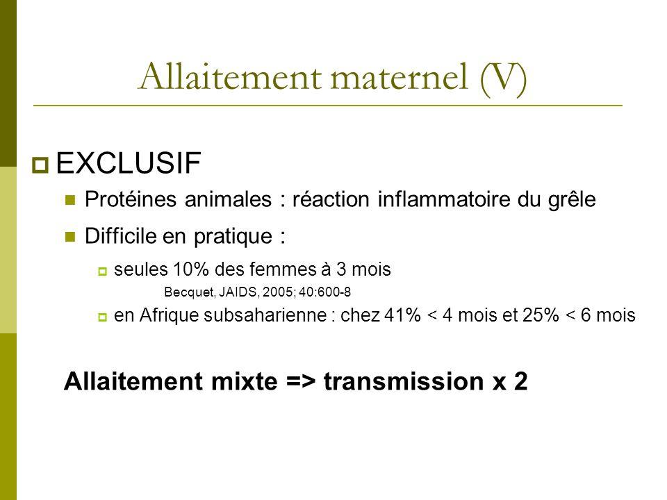 Allaitement maternel (V) EXCLUSIF Protéines animales : réaction inflammatoire du grêle Difficile en pratique : seules 10% des femmes à 3 mois Becquet,