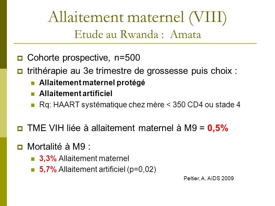 Cohorte prospective, n=500 trithérapie au 3e trimestre de grossesse puis choix : Allaitement maternel protégé Allaitement artificiel Rq: HAART systéma
