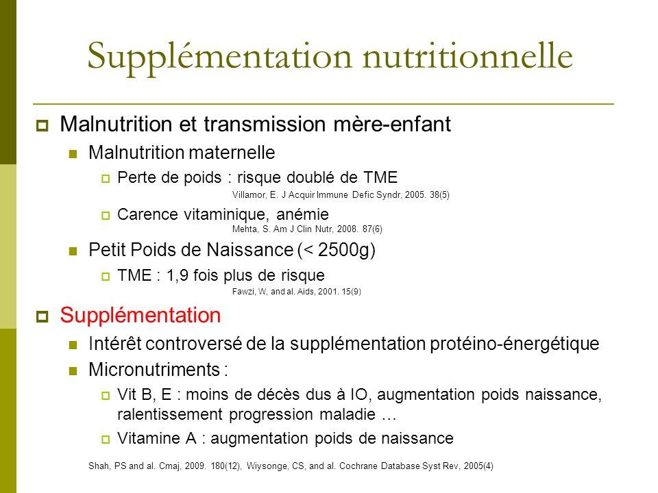 Supplémentation nutritionnelle Malnutrition et transmission mère-enfant Malnutrition maternelle Perte de poids : risque doublé de TME Villamor, E. J A