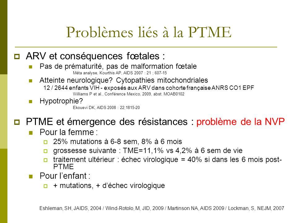 Problèmes liés à la PTME ARV et conséquences fœtales : Pas de prématurité, pas de malformation fœtale Méta analyse, Kourthis AP, AIDS 2007 : 21 ; 607-