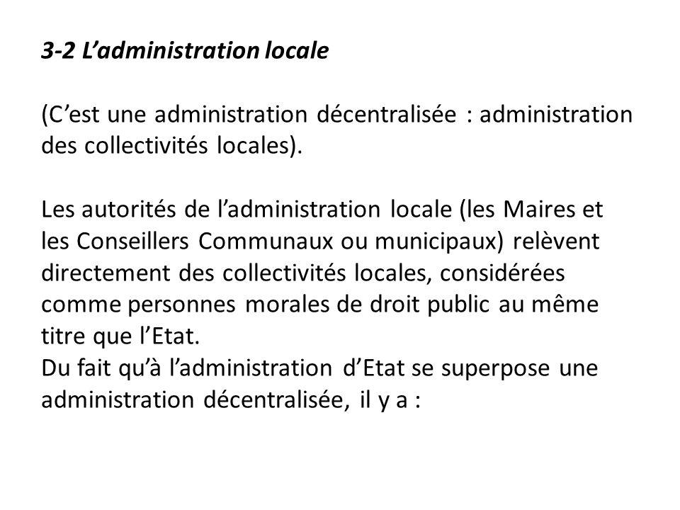 3-2 Ladministration locale (Cest une administration décentralisée : administration des collectivités locales). Les autorités de ladministration locale