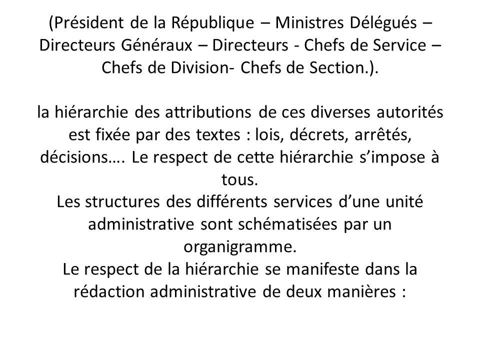 (Président de la République – Ministres Délégués – Directeurs Généraux – Directeurs - Chefs de Service – Chefs de Division- Chefs de Section.). la hié