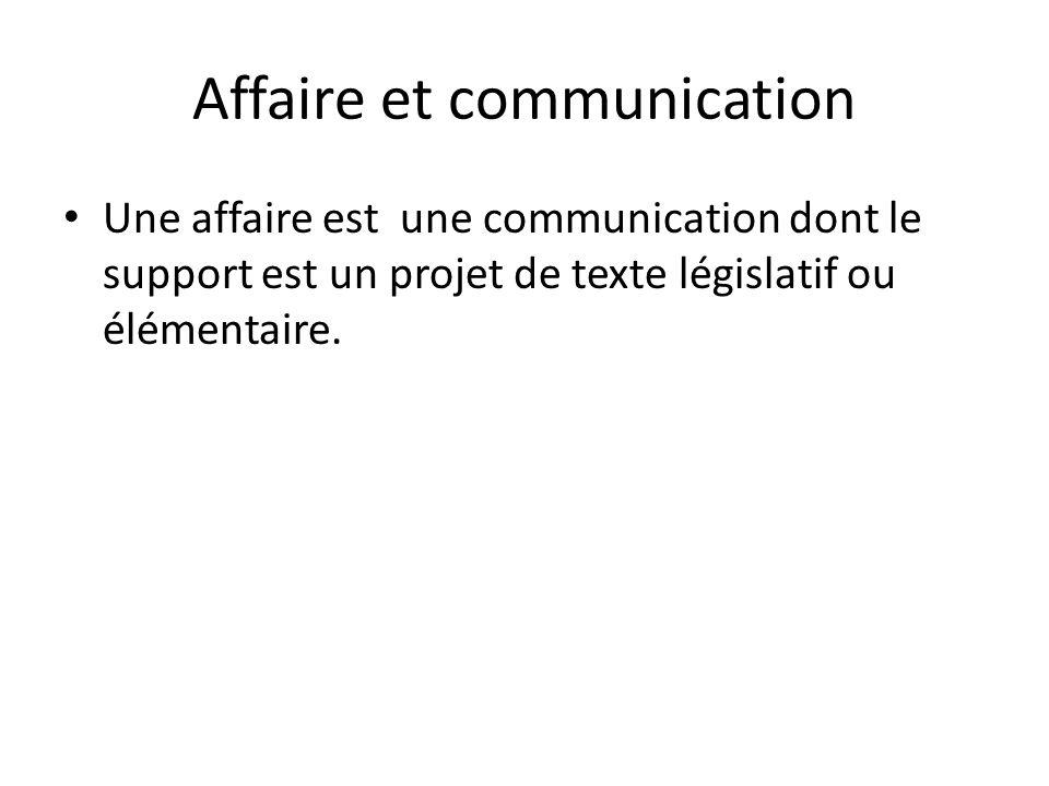 Affaire et communication Une affaire est une communication dont le support est un projet de texte législatif ou élémentaire.