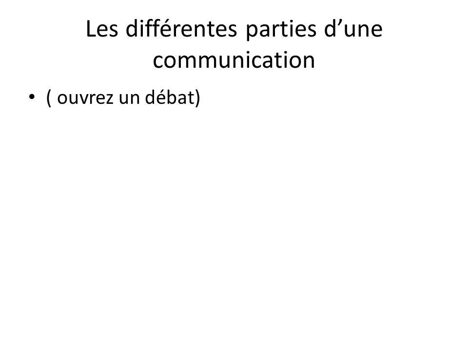 Les différentes parties dune communication ( ouvrez un débat)