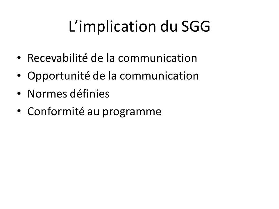 Limplication du SGG Recevabilité de la communication Opportunité de la communication Normes définies Conformité au programme