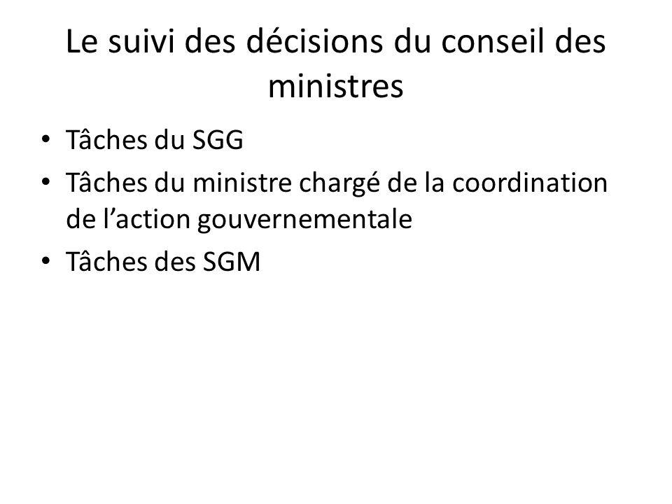 Le suivi des décisions du conseil des ministres Tâches du SGG Tâches du ministre chargé de la coordination de laction gouvernementale Tâches des SGM