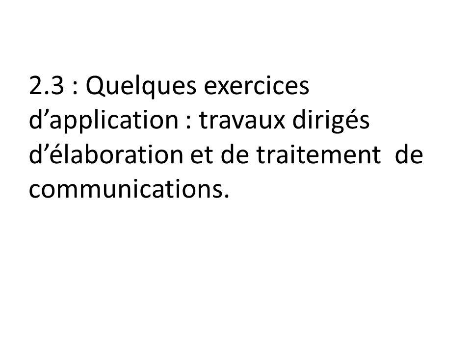 2.3 : Quelques exercices dapplication : travaux dirigés délaboration et de traitement de communications.