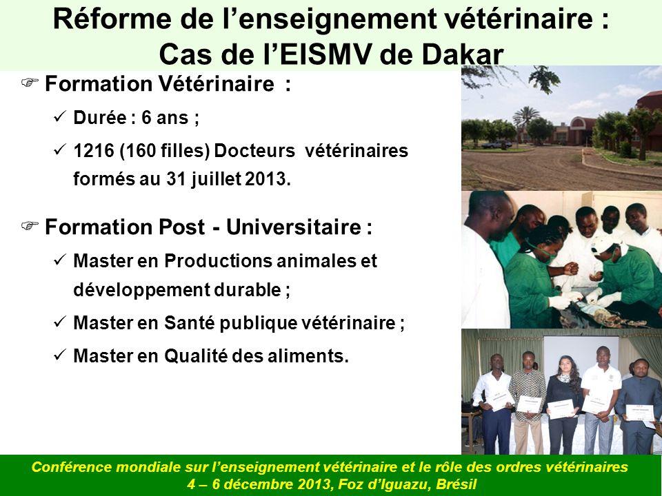 Formation Vétérinaire : Durée : 6 ans ; 1216 (160 filles) Docteurs vétérinaires formés au 31 juillet 2013. Formation Post - Universitaire : Master en