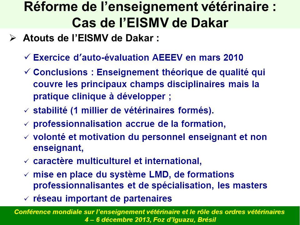 Atouts de lEISMV de Dakar : Exercice dauto-évaluation AEEEV en mars 2010 Conclusions : Enseignement théorique de qualité qui couvre les principaux cha