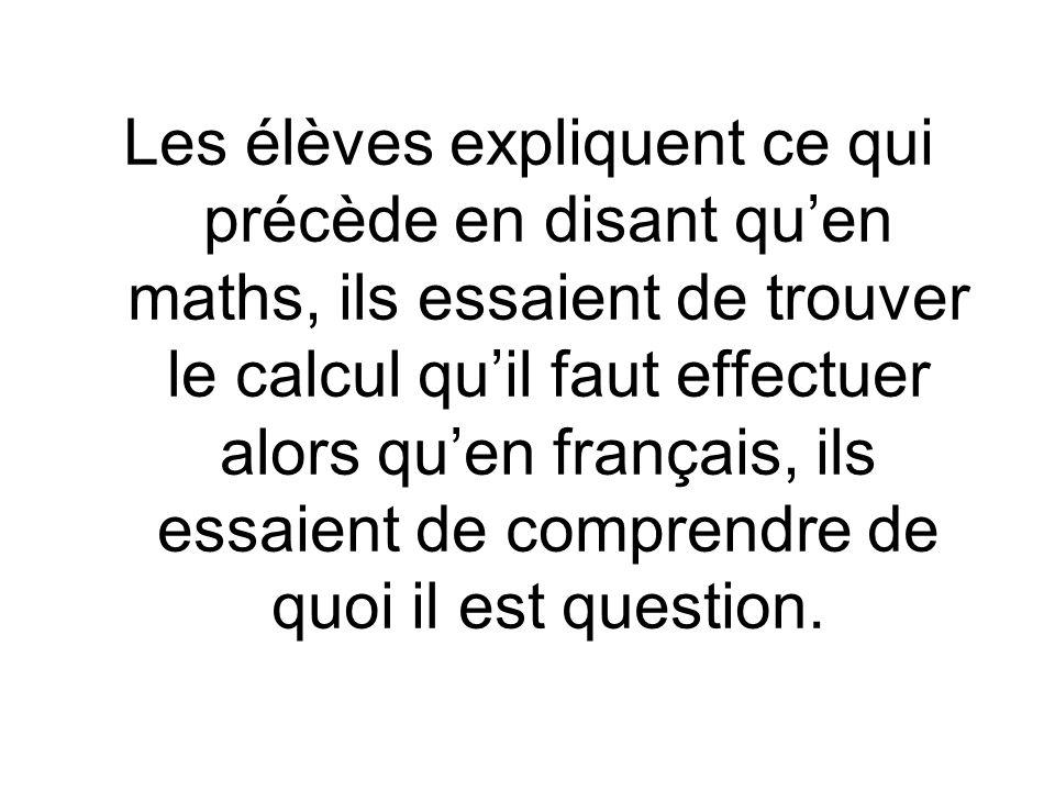 Les élèves expliquent ce qui précède en disant quen maths, ils essaient de trouver le calcul quil faut effectuer alors quen français, ils essaient de comprendre de quoi il est question.