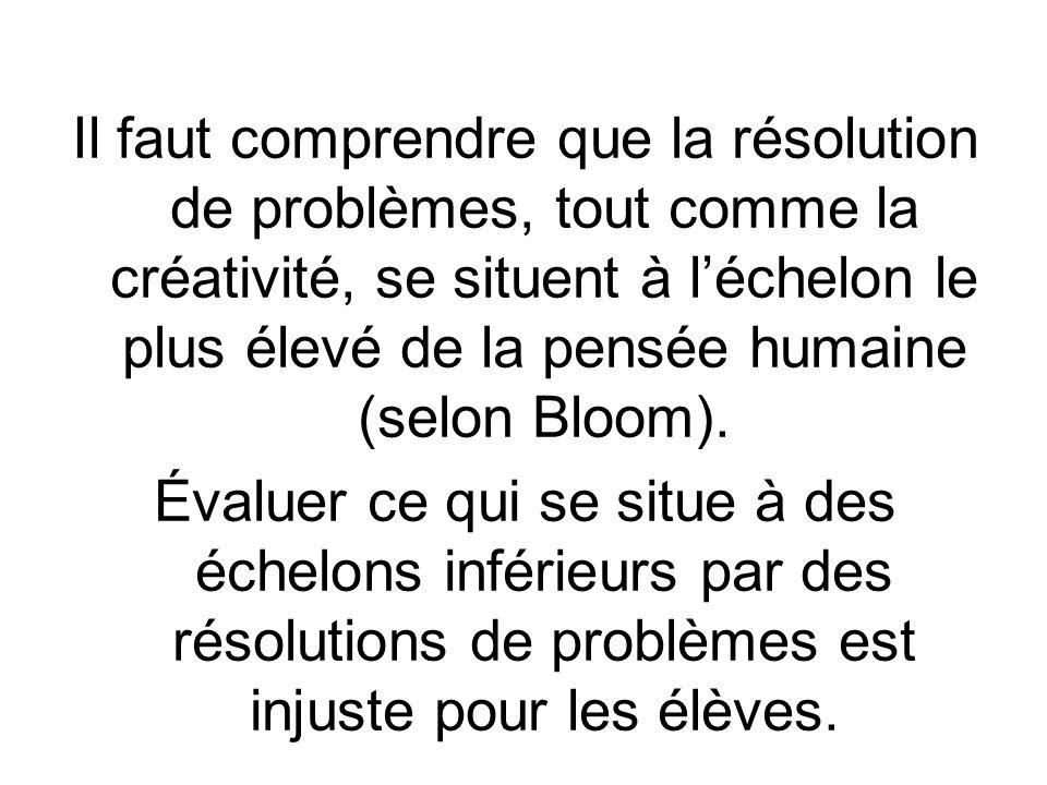 Il faut comprendre que la résolution de problèmes, tout comme la créativité, se situent à léchelon le plus élevé de la pensée humaine (selon Bloom).