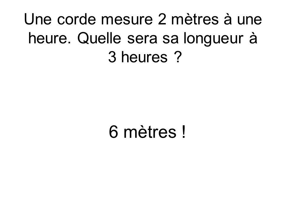Une corde mesure 2 mètres à une heure. Quelle sera sa longueur à 3 heures 6 mètres !
