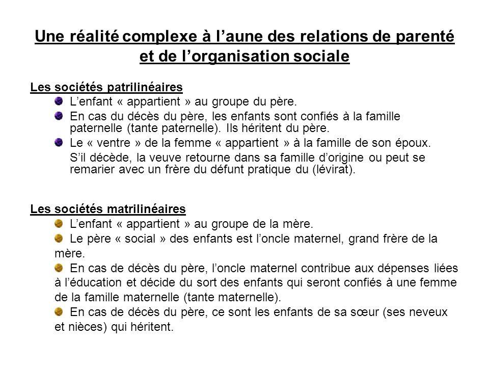 Une réalité complexe à laune des relations de parenté et de lorganisation sociale Les sociétés patrilinéaires Lenfant « appartient » au groupe du père